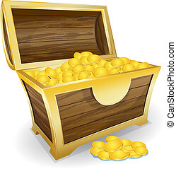 treasure chest - Vector illustration of treasure chest with...