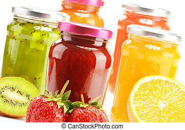 Composition with jars of fruity jams on white Preserved...