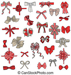 Set of gift Bows with Ribbons - for design and scrapbook - in vector