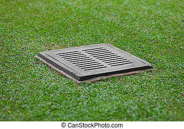 Sewer grate on the lawn - drainage for heavy rain - The...