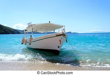 小船, 海灘, 希臘