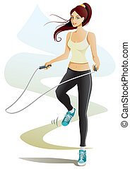 Jump Rope - Vector illustration of a girl doing jump rope...