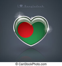 Bangladesh - Glossy heart shape flags of the Worlds: Peoples...