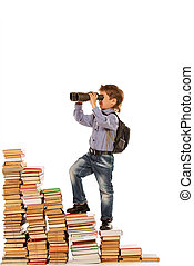 prospects - A boy climbing the stairs of books and looking...