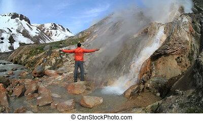 tourist, geyser