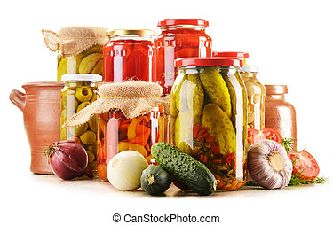 Composition with jars of pickled vegetables Marinated food