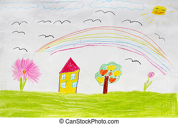 Children's drawing of houses and rainbow - image of...