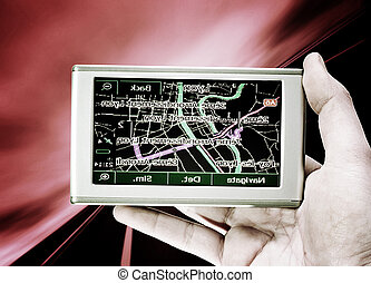 GPS Vehicle navigation system in a man hand More of this...