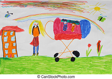 Children's drawing of mother with perambulator - image of...