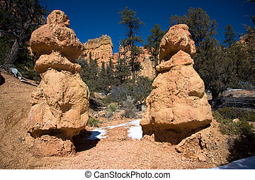 Red Rock Twin Hoodoos - Red Canyon is located along Scenic...