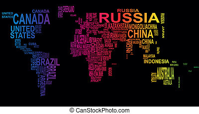 text world - illustration of world map with country name