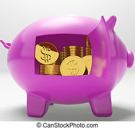 Dollar Coins Piggy Shows Prosperity And Security