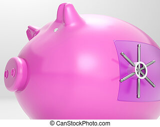 Safe Piggy Shows Money Savings Bank Protected