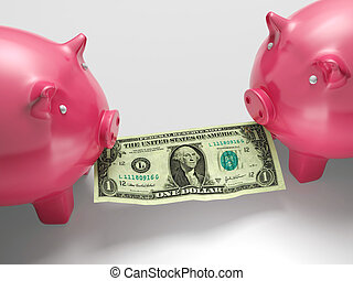 Piggybanks Eating Money Shows Financial Crisis