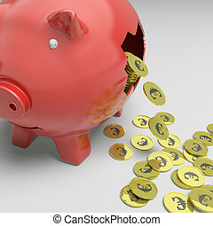 Broken Piggybank Shows Europe Economy