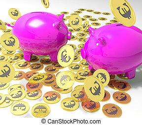 Piggybanks On Coins Shows European Financial Status