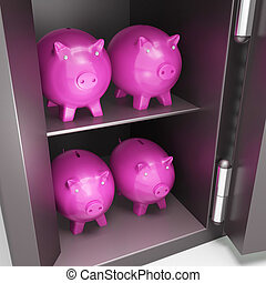 Open Safe With Piggy Showing Safe Savings