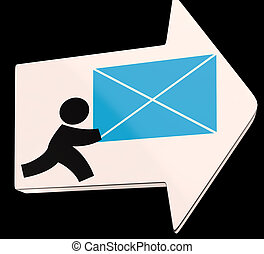 Delivering Mail Arrow Shows Express Delivery Or Delivery Man