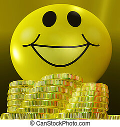 Smiley Face With Coins Showing Monetary Happiness And...
