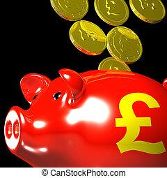 Coins Entering Piggybank Showing British Wealth