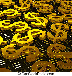 Dollar Symbols On Floor Showing American Earnings