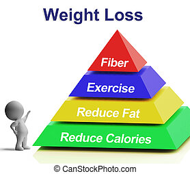 Weight Loss Pyramid Shows Fiber Exercise Fat And Reducing...