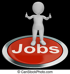 Jobs Computer Button Shows Work And Career