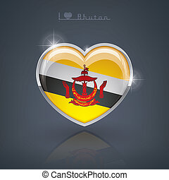 Brunei - Glossy heart shape flags of the Worlds: Nation of...