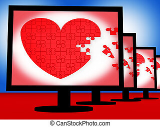 Puzzle Heart On Monitors Shows Love