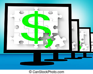 Dollar Symbol On Monitors Shows American Currency