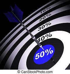 50Percent On Dartboard Showing Money Savings