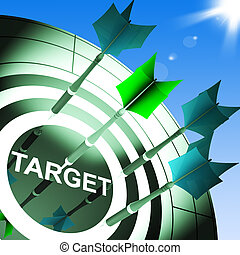 Target On Dartboard Showing Successful Shooting Or Archery