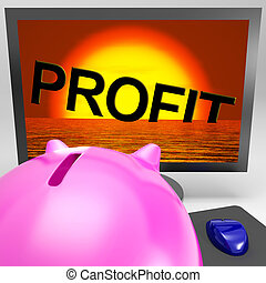 Profit Sinking On Monitor Shows Unprofitable Trading Or...