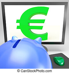 Euro Symbol On Monitor Shows European Fortune