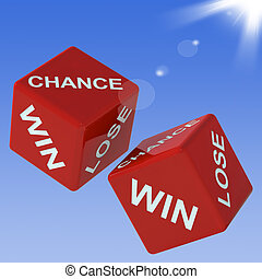 Chance, Win, Lose Dice Shows Gambling And Choosing