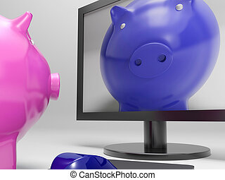 Piggy On Screen Shows Online Bank Savings - Piggy On Screen...