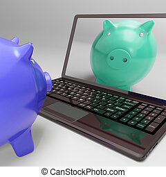 Piggy On Screen Shows Digital Web Piggybank