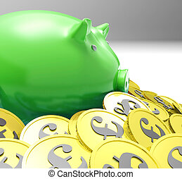 Piggybank Surrounded In Coins Shows European Incomes