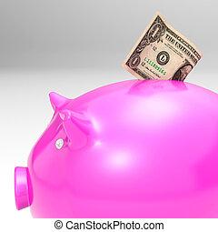 Dollar Entering Piggybank Showing Savings