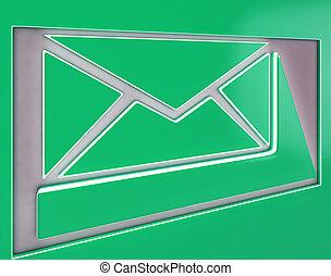 コミュニケーション, ボタン, 封筒, 印, インターネット, 提示