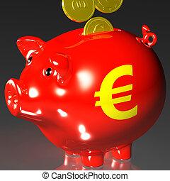 Coins Entering Piggybank Shows European Loans