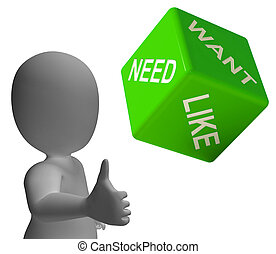 necesidad, necesidad, y, como, dados, actuación, anhelo