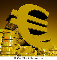 Euro Symbol On Coins Showing European Wealth