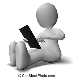Ipad Or Tablet Pc Being Used By 3d Character - Ipad Or...