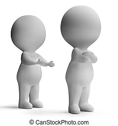 Upset Unhappy 3d Character Showing Disagreement Between...