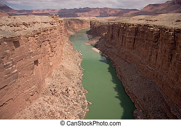 Colorado River from Navajo Bridge - These two bridges, one...