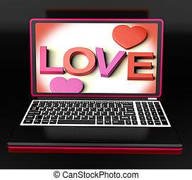 amor, en, computador portatil, exposiciones, romance