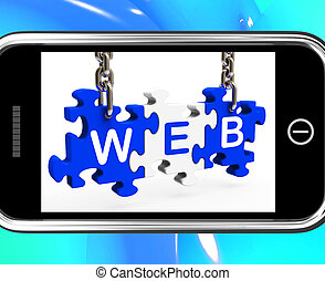 Web On Smartphone Shows Mobile Browsing And Internet...