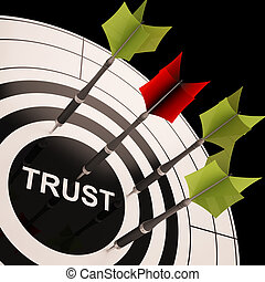 Trust On Dartboard Showing Reliability And Reliance - Trust...
