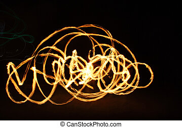 fire show, fire flower - fire show, performance with fire on...